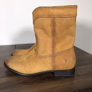 New Frye Cara Roper Boots Sz 8 Short Riding Cognac